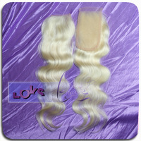 "7A Free Part Body Wave European Human Hair Closure in Color #613 Size 3"" x 5"" Lace Top Closure"