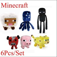 6pcs/Set Minecraft Plush Doll Toys Enderman Cow Pig Squid Sheep And Ocelot Stuffed Baby Toy Best Gift For Children Free Shipping