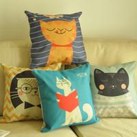 Cat american rustic child cartoon sofa car fluid pillow cover kaozhen cushion