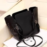 Free shipping 2014 fashion vintage tassel rivet bag bucket bag trend women's messenger bag handbag