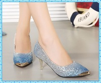 2015 new women fashion high heels prom wedding shoes ladies crystal shoes platforms silver Glitter studded party shoes pump C749