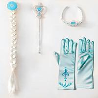 3Pcs/set Frozen Crown Princess Elsa Frozen Crown girls Hair Accessories brand Tiara Cosplay Crown + Wig +Magic Wand+Glove