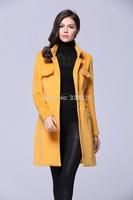 Hot Classic 2014 Autumn Winter Lady Fashion coat  British Long Style Elegant Trench Coat/Designer Belted women Trench