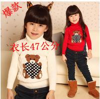 Stretch shirts bear cartoon child children shirts children's sweater high neck to keep warm sweater factory outlet