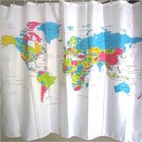Free Shipping Creative World Map Shower Curtain Bathroom Curtain Waterproof Polyester Bath Curtain 180*180cm 5 4013-645