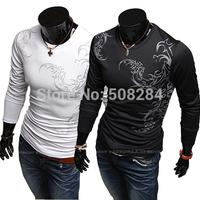 Men Fashion Printing Colorful Strip Comfortable Long Sleeve T-Shirt Dropshipping