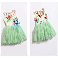 2014 Hot-selling Girl Princess Dresses Kids Wear Tutu Dress Girl summer Floral Gauze Beach Dress Children Clothing 4pcs/lot