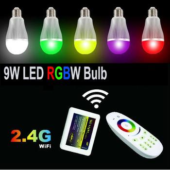 6 Вт / 9 Вт AC85-265V алюминиевый RGBW E27 из светодиодов лампы WIFI управления для IOS Android OS и 2.4 г беспроводной сенсорный пульт дистанционного управления изменение цвета