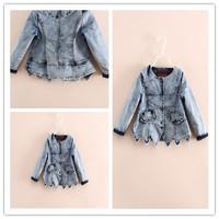 Hu sunshine wholesale NEW 2014 Girls fashion long-sleeved round collor Irregular cowboy denim jacket WW11272595H