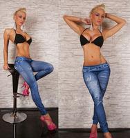 New seamless faux cowboy belts wholesale printed leggings of nine Blue women's legging