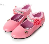 Free shipping children shoes girls shoes princess girls fashion single shoes lovely flower kids shoes soft sole leather flat  14