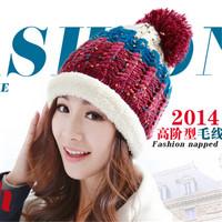 Female winter hat women's plus velvet knitted hat winter knitted ear hat