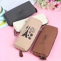 Unique Retro Canvas Pencil Pen Case Cosmetic Makeup Coin Pouch Zipper Bag Purse
