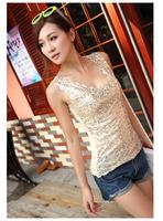 Vest in code render unlined upper garment sequins big sequins small condole belt