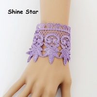Pack of 2,Fashion Purple Flower Tattoo Chunky Lace Faux Pearl Pendant Cuff Bangle Bracelet Women Jewelry Accessory Item