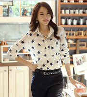 New Five-pointed Star Printed Women Summer Autumn Chiffon Top Clothes Blouses Fashion Loose Ladies Shirts Wear Long-Sleeves