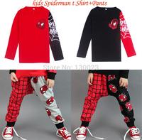 Hot Sale Children Brand Clothing Sets Kids Spiderman 2pcs Sets t shirt+pants Boys Cartoon Hero Suits 100% cotton For 2-8years
