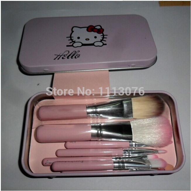 Hello kitty 7PCS Makeup Brushes Tin box Cosmetics Foundation Blending Makeup BrushBoth portable makeup brush set Makeup tool(China (Mainland))