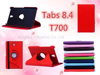 100pcs/Lot for Samsung Galaxy TabS 8.4  T700 360 Degrees Rotating Rotation Protective PU Leather Case with Stand