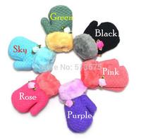 Free Shipping 2014 New winter wool velvet children's knitted gloves Rose children winter gloves