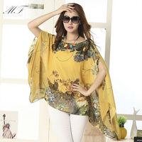 New 2014 Summer Bat-wing Sleeve Plus Size Women's Blouses Print Blouse Tops Shirt blusas femininas
