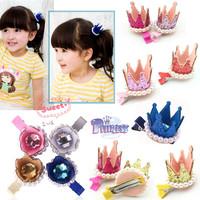2pcs Beautiful Girls Xmas Dancing Party Hair Clips Crown Pearl Princess Barrette Ribbon 6 Colors