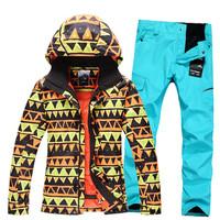 free shipping Gsou snow ski suit Men set outdoor skiing underwear set windproof waterproof thermal