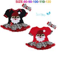 Christmas dress Christmas baby girls dress + headwear Leopard Christmas Santa Claus cartoon cute plaid dress free shipping
