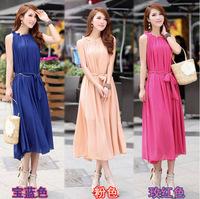 New Boho Style Summer Sleeveless Ruffled Tank Long Chiffon Bohemian Dress for Women Beach Dress With Belt Freeshipping WZA449