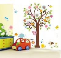 ZY1008 hot sale new animals kids room colorful cartoon OWL forest tree nursery wall sticker custom