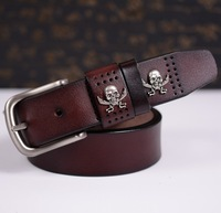 Fashion Design Vintage Causal Skull/nife Man Cowhide Belts 100% Genuine Leather Pin Buckle Pirate Men's Belts