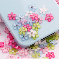 Free Shipping 200pcs 10mm cute 6 colors resin flower with rhinestone flatback cabochon for DIY phone,nail art decoration
