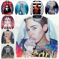 star love 3D sweatshirt miley cyrus/tupac/psy gangnam/lady gaga/bart simpson printed women hoody american apparel