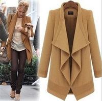 LBL1009 Womem new winter wool long cardigan casual belt asymmetrical coat outerwear jackets plus size