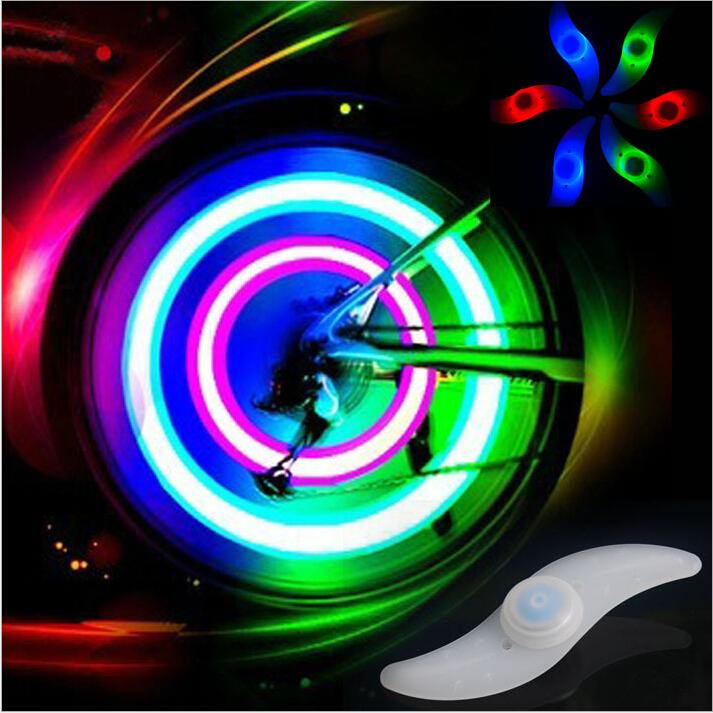 2pcs/1 Pair Bike Bicycle Cycling Car Tyre Wheel Neon Valve Firefly Spoke LED Light Lamp 5 LED Colorful Light Lamp(China (Mainland))