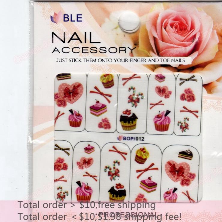 Min order $10 Nail Art 20Sheets/Lot 10 Designs Rose/Cake/Heart Nail Sticker 3D Glitter Powder Nail Water Transfer Decal BOP012(China (Mainland))