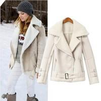 LBL1045 Womem winter faux leather wool berber fleece lining warm casual belt windbreaker coat outerwear overcoat parka plus size
