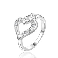 New Arival Zircon Silver Plated Heart Finger Ring for Women Girls Lady Size 8 Gift of Mom Free Shipping