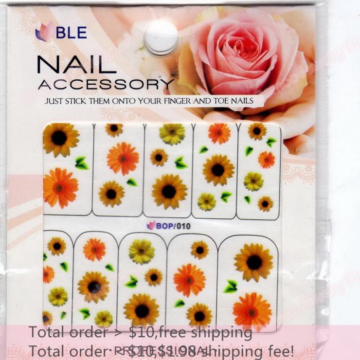 Min order $10 Nail Art 20Sheets/Lot 10 Designs Yellow Sunflower Nail Sticker 3D Glitter Powder Nail Water Transfer Decal BOP010(China (Mainland))