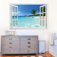 1430 new 3D bedroom window Hawaii background living room TV background wall stickers custom wholesale,