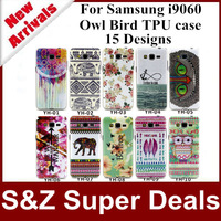 1pcs High Quality phone cases coloured drawing TPU cover Owl Bird Flower Painting case For Samsung Galaxy Grand NEO i9060