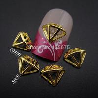 10pcs Gold metal nail art Diamond shape Hollow design for nails decorations supplies MNS741