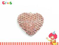 Newest ! ! 36mm*32mm  10pcs/lot Pink Full Rhinestone Heart Pendants