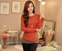 2014 Hot sale Free shipping Fashionable Personality Design Fashion Style T-shirt Zipper Mosaic False All-match Two T-shirt