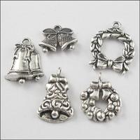 YBB Wholesale 20mm Zinc alloy Tone Christmas Antiqued Silver Charms Pendants LA530