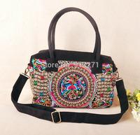 2004 New Vintage Designer Canvas Tote Handbags Women Shoulder Messenger Bag IPAD Bag Floral Moneytree Embroidery Free Shipping