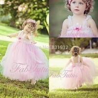 2014 New Arival Light Pink Floor Length Tulle Ball Gown Flower Girls Dress Girls Pageant Dress Sexy Wedding Part DressFM05005