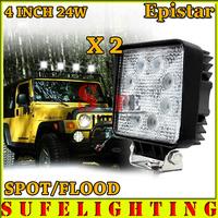 Free Shipping 2PCS 4'' 24W LED Work Light Truck 4WD AVT Offroad LED Driving Light Spot Flood 4X4 Car Fog Light 12V 24V 27W 36W