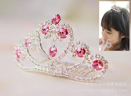 2015 Korean Sweet children crown headdress hair accessories jewelry crystal tiara princess crown rhinestone(China (Mainland))