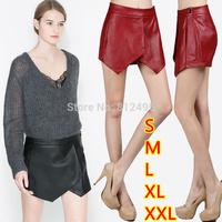 high quality women PU leather shorts pants slim irregular short culottes all-match skorts